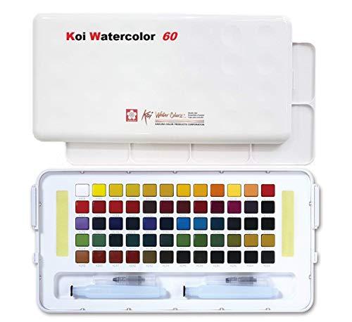 Sakura Koi Aquarell Pocket Field Sketch Box 60 Farben, Farben Sortiert Acryl, Mehrfarbig,Aquarellkasten mit 60 Näpfchen, Mischpalette und Zwei Wassertank-Pinseln