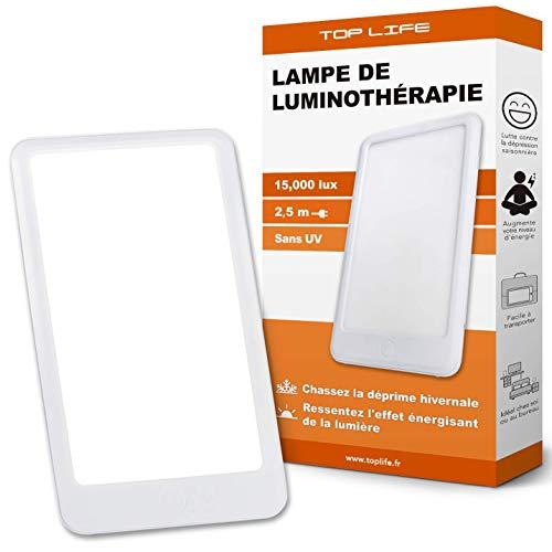 Lámpara de Luminoterapia 15000 lux - Luz Antidepresiva Potente - Lámpara de Día Ajustable de 3 Intensidades - Efectividad terapéutica Comprobada para Combatir la Depresión Estacional