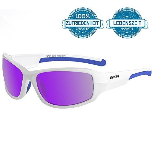 BTERDNE Sportbrille Polarisiert Fahrradbrille Sport Sonnenbrille für Herren und Damen UV400 Schutz Extra Leicht TR90 Polarisierte Radbrille Herren Verschiedene Linsenfarben zur Wahl