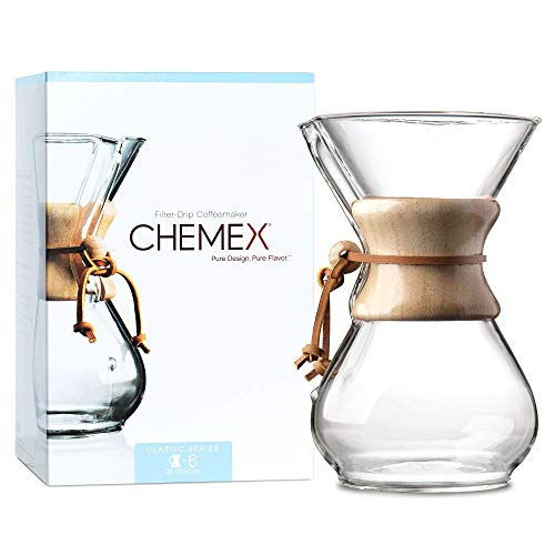 CHEMEX Pour-Over Glass Coffeemaker - Classic Series - 6-Cup - Exclusive Packaging