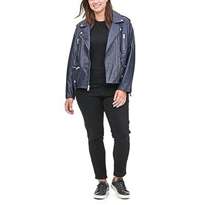 Levi's Women's Plus Size Faux Leather Contemporary Asymmetrical Motorcycle Jacket, Navy, 2 X
