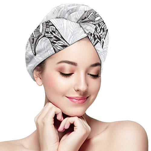 N/A Serviette à Cheveux en Microfibre Turban à séchage Rapide Bonnet de Bain Style Oiseau Monochrome Peafowl Plumes Tatouage Design Tête d'animal Portrait