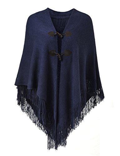 Ferand Poncho-Schal in lässiger Passform mit stylischen Hornknöpfen, V-Ausschnitt und V-Saum für Frauen, Navyblau