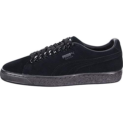 PUMA - Kids Suede Classic X Chain Shoes, Size: 4.5 M US Big Kid, Color: Puma Black/Puma Black