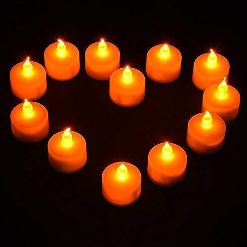 Trimming Shop LED Té Luces Destelleante sin Llama Vela Ámbar Y Multicolor de Pilas para Decoración, Festivales, Bodas - Ámbar, 12 Pcs