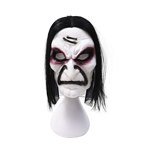 XWYZY Máscara de látex para Halloween, máscara realista, máscara de Halloween, máscara de pelo largo, máscara de miedo de fantasma, color beige