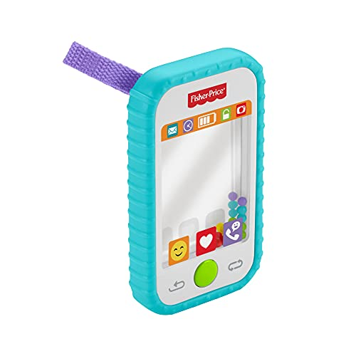 """Fisher-Price #Selfie Fun Phone, Baby Rattle, Mirror and Teething Toy, Multi-Colored, 10"""""""