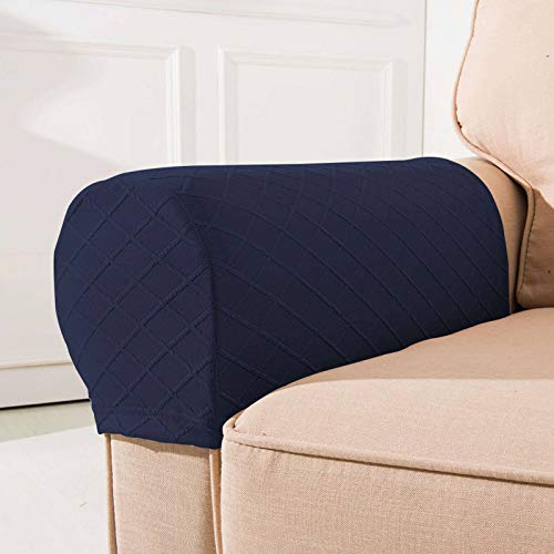 Stretch Jacquard Fabric Armrest Covers For Sofa, With Twist Pins 2 Pcs Sofa Arm Protector Non Slip Washable Sofa Slipcover-Navy-2-Pcs