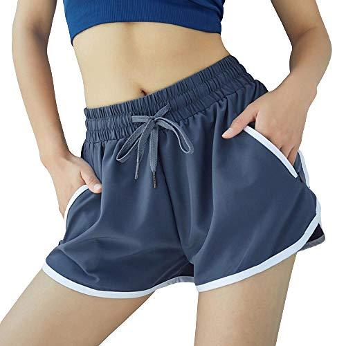 BDN Cintura Alta Pantalón Deportivo de Mujer Leggings Mallas ,Shorts Deportivos Sueltos de Secado rápido para Mujeres, Pantalones Cortos Deportivos antideslumbrantes para Yoga y Fitness.-Azul_S