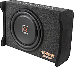 powerful Alphasonik AS12DF 12 inch, 1500 W, flat 4 ohm woofer, low level bracket, 4 ohm, for limited space in cars and trucks, light load thin subwoofer, sealed housing for low frequency noise