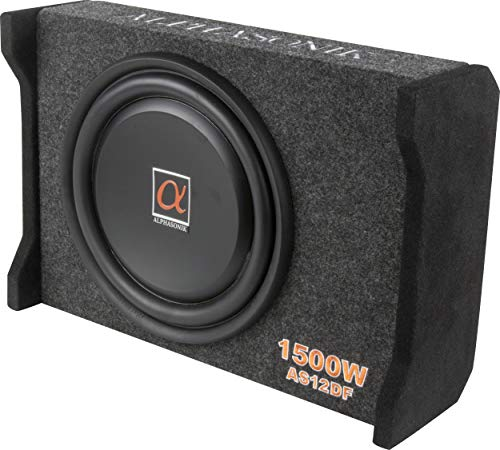 "Alphasonik AS12DF 12"" 1500 Watts 4-Ohm Down Fire Shallow Mount Flat Enclosed Sub woofer for Tight Spaces in Cars and Trucks, Slim Thin Loaded Subwoofer Air Tight Sealed Bass Enclosure"