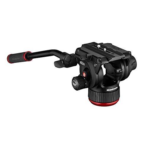 Manfrotto 504X Fluid-Videokopf mit Flacher Basis, Leichter und Kompakter Aluminium-Videokopf, Neue Fluid-Technologie, 4-Stufen-Ausgleichssystem, für Videographen, für bis zu 12 kg