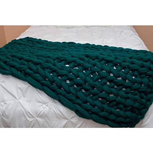 Jlxl Manta Hecha Punto Hilado Grueso, Tiro De Cable De Algodón Hecho A Mano for Cama De Sofá Alfombra De Silla Mascotas Suave Regalo (Color : Dark Green, Size : 120x150cm)