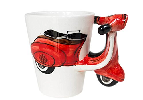 Vespa Kaffeetasse handgefertigt Keramik Rot 225g (10cm x 8cm)