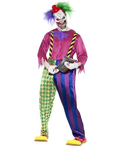 Amakando Disfraz de payaso para Halloween, multicolor, talla M 48/50, payaso malvado, payaso psicodlico miedante, arlequn circo, fiesta temtica