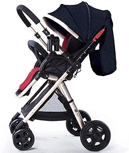 Cochecito de bebé Cochecito portátil Cochecito de carruaje de bebé para recién nacido bebé niño pequeño cochecito ligero cómodo, vista altas vistas pram unisex azul oscuro blue shotchair con arnés de