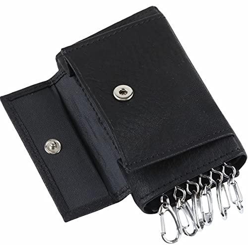 LINO PLANET キーケース 本革 小銭入れ コインケース お札入れ カード入れ メンズ レディース (ブラック)