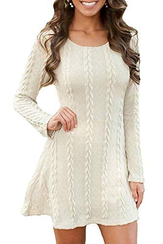 ORANDESIGNE Damen Elegant Pulloverkleid Strickkleid Herbst Winter Langarm Strickpullover Minikleid Cocktailkleider Sweater Slim Fit Weiß DE 36