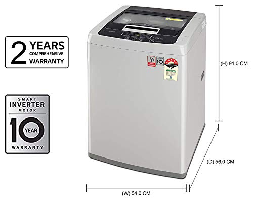 LG 7 kg 5 Star Inverter Fully-Automatic Top Loading Washing Machine (T70SKSF1Z, Middle Free Silver, TurboDrum) 2