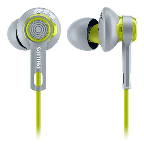 Philips SHQ2300LF/00 ActionFit In-Ear-Sportkopfhörer (wasserfest, Kabel-Clip und Aufbewahrungstasche) grau/grün
