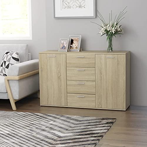 Mueble contenedor para salón, aparador con 4 cajones y 2 puertas, aparador para el comedor, aparador de aglomerado de madera de roble Sonoma, 120 x 35,5 x 75 cm