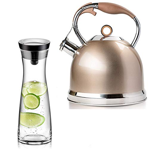 Sotya Tea Kettle Best 3 Quart induction Modern Stainless Steel Surgical Whistling Teapot - Pot For Stove Top(Champagne-gold) and 40oz/1200ml Glass Drip-free Pitcher With Lid, Borosilicate Glass Carafe