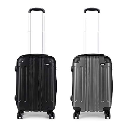 Kono Luggage Set of 2 Hard ABS Suitcase Lightweight Carry-on Travel Trolley with Four 360° Wheels (Black+Grey)