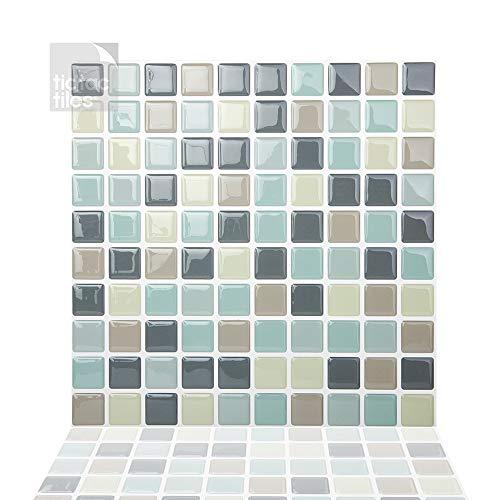 Tic Tac Tiles 25 cm x 25 cm 10 Láminas, 3D Azulejos Adhesivo Mosaico Pegatinas para azulejos de la pared para Cocina y Baño - Mosaico Gris Menta