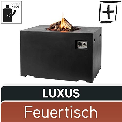 M A N I A Gas Feuertisch Set - Gas Feuerstelle ohne Rauch, Funken, Glut & Asche - Gaskamin Outdoor mit 19,5 kW als Stehtisch in Betonoptik schwarz 107 x 80 x 67 cm - Gasfeuerstelle Terrassenkamin