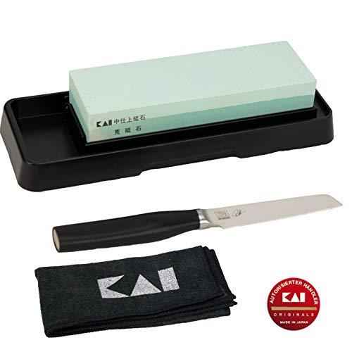 Kai Shun Tim Mälzer Bundle | KAMAGATA Officemesser (TMK-0700) | + Kai-Schleifstein AP 0305 (400/1000 Körnung) | +Premium Poliertuch von Kai | VK: 109,- €