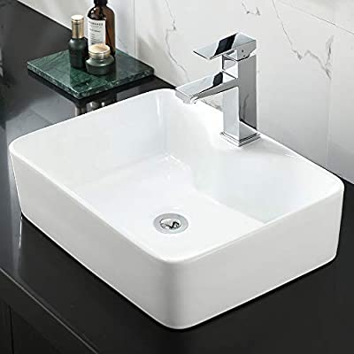 """Rectangle Bathroom Sink and Faucet Combo-WMXQX 19""""x15"""" White Vessel Sink Above Counter Porcelain Ceramic Bathroom Vessel Vanity Sink Art Basin, Faucet Matching Pop Up Drain Combo"""