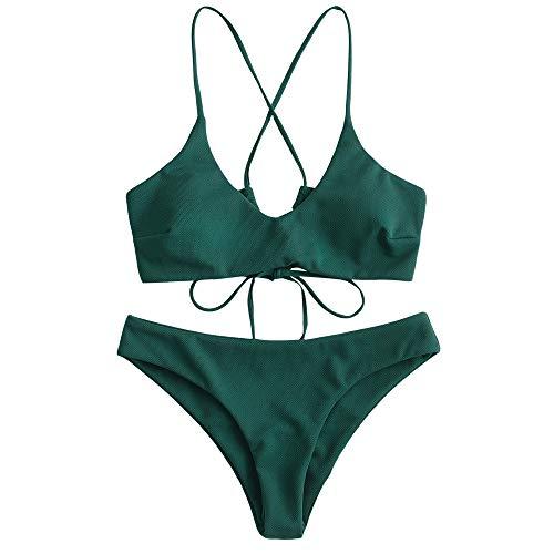 ZAFUL Damen Criss Cross Lace Up Gepolstert Bikini Set Badeanzug Dunkelgrün M