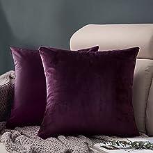 FORTRY Juego de 2 fundas de cojín de terciopelo suave y sólido, 45 x 45 cm, decorativas, cuadradas, para sofá, dormitorio, color morado berenjena