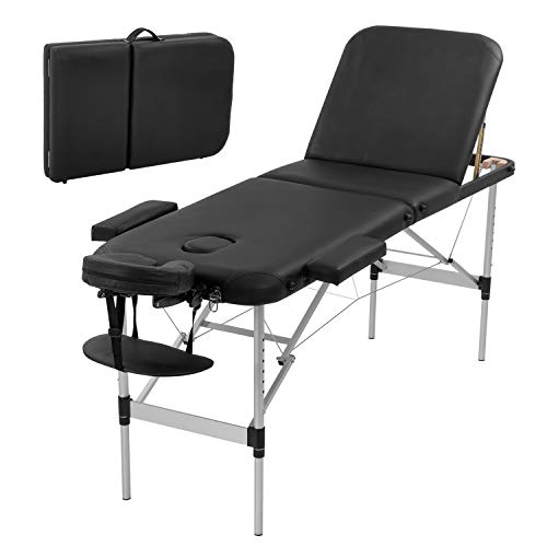 Massage Table Portable Massage Bed 3 Folding 73 Inch Height Adjustable Aluminium Salon Bed Carry Case Tattoo Table Facial Bed Hold Up to 450LBS