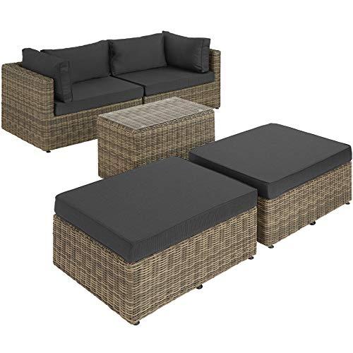 TecTake 800694 Aluminium Polyrattan Multifunktions Luxus Loungegruppe Gartensofa mit Tisch, für Garten oder Terrasse, vielseitig kombinierbar, inkl. Polster - Diverse Farben (Natur | Nr. 403168) - 3