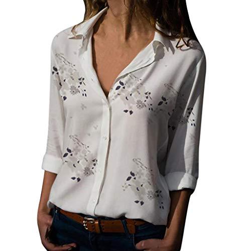 Xmiral Camicetta Pullover Top Camicia Donna Taglie Forti Stampa Scollo a V Bottone Stampato (M,1- Bianca)