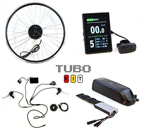 Tubo Kit, Sistema Completo per Conversione in Bici elettrica, Ruota Anteriore 700c, Motore 250W, Batteria 36V 13AH, Display LCD a Colori
