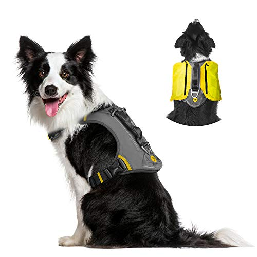 Fida Dog Harness, Multi-Functional No-Pull Pet Vest Harness with Saddle Bags Backpack, Front Leash Clip, Adjustable Soft Padded Reflective No-Choke Dog Vest Heavy Duty for Medium Dog, M, Black