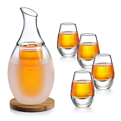 ZENS Sake Set Gläser, Japanische Sake Set 250ml mit 4 Sake Cup Shotgläser Set für Wärmeren oder Kalten Japan Soju Liquor mit Stone Coaster