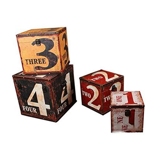 HYMY SUITCASE STORAGE BOXES 4 Packs Suitcase European-style Retro Storage Wooden Box Creative Storage Wooden Box Clothing Store Cafe Bar Retro Items Decoration Camp Suitcases