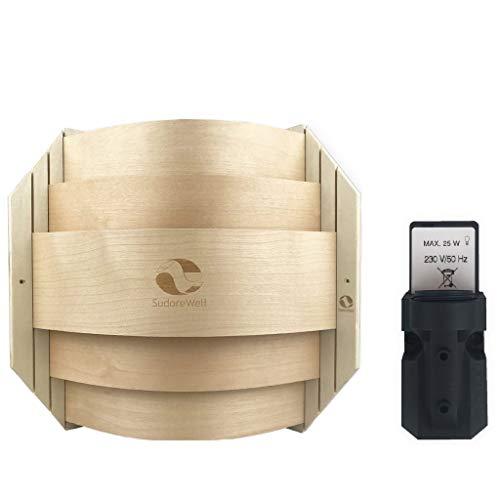 SudoreWell® Sauna Holzblendschirm Set Eck für Saunaleuchte + Saunalicht inklusive Leuchtenfassung E14