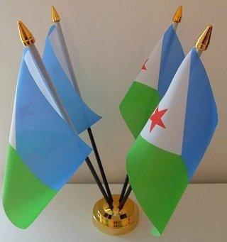 Djibouti Djiboutian 4 Drapeau affichage de bureau avec Base dorée