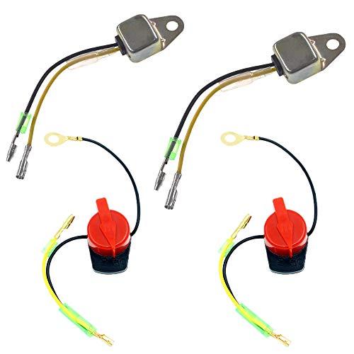 QAZAKY Low Oil Alert Sensor + On/Off Engine Stop Kill Switch Control Compatible with GX160 GX200 GX240 GX270 GX340 GX390 5.5HP 6.5HP 8HP 9HP 11HP 13HP Motor Generator Water Pump Lawnmower Trimmer Bike