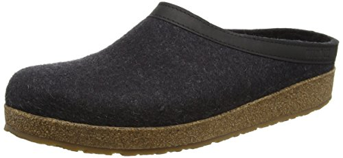 Haflinger GZL Leather Trim Grizzly Clog,Charcoal,39 EU/Women's 8 M US/Men's 6 M US