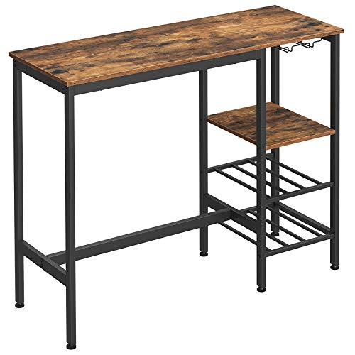 VASAGLE Bar Table, High Dining Table, Pub Table with Wine Glass Holder and Bottle Rack, for Living Room, Kitchen, Industrial, Rustic Brown and Black ULBT013B01