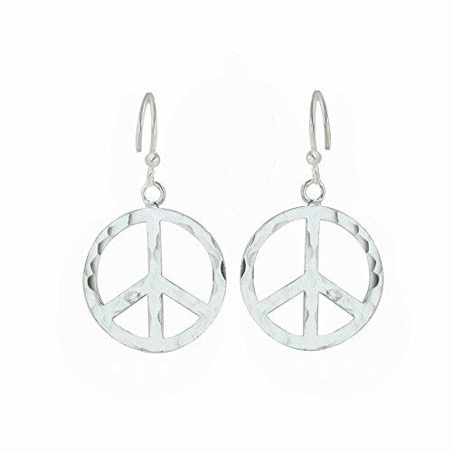 Pendientes colgantes de plata de ley con símbolo de la paz, 100% hipoalergénico y antialérgico