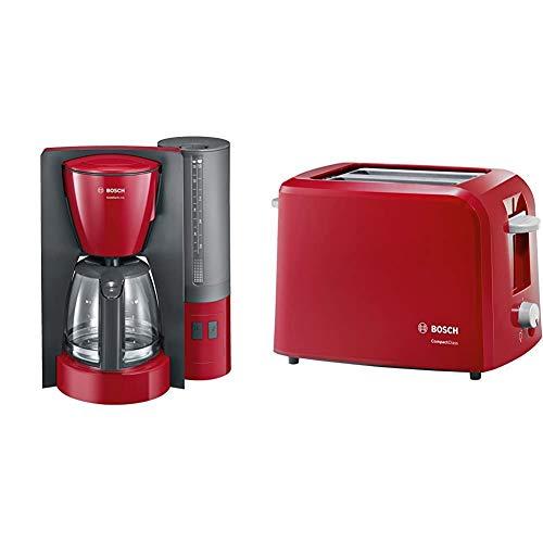 Bosch TKA6A044 ComfortLine Filterkaffeemaschine, Aroma+, 1200 W, rot & TAT3A014 CompactClass Kompakt-Toaster, Auftaufunktion, versenkbarer Brötchenaufsatz, Abschaltautomatik, 980 W, rot