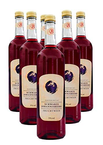 Bayernwald Fruchtwein schwarze Johannisbeere 6x 0,75 l, reiner Johannisbeerwein, lieblicher Beerenwein, 9% vol