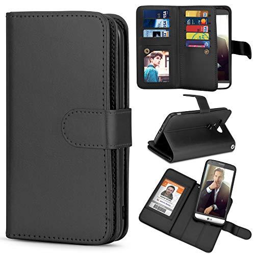TILL for LG G5 Case, TILL LG G5 [PU Leather] Flip Wallet Case [Cash & Card Slot Holder] [Kickstand] Detachable Magnetic Folio Protective Case Cover [Black]