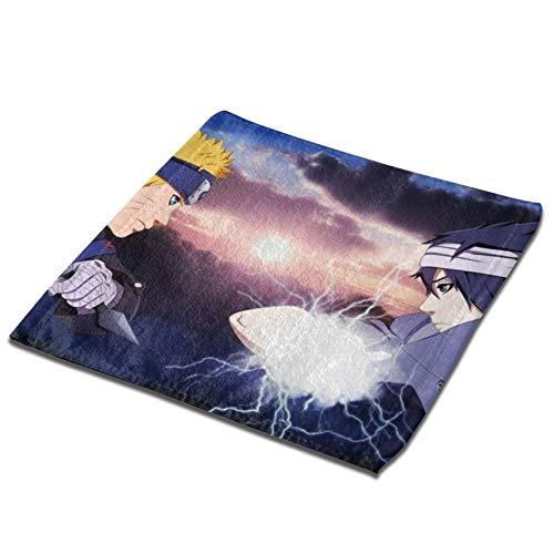 Anime NARUTO Uchiha Sasuke Toalla de mano para baño, casa, spa, gimnasio, cuadrado, poliéster ultra suave y altamente absorbente (negro, 3 piezas x toalla de baño) 1 pieza
